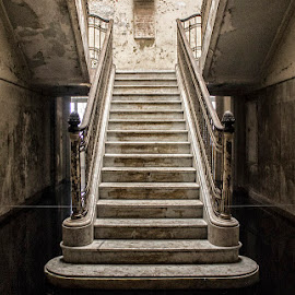 Hospital Matarazzo Staircase  by Samy St Clair - Buildings & Architecture Decaying & Abandoned ( sao paulo, urban decay, architectural detail, architecture, brasil, historic, grime, brazil, stairs, stairway, staircase, dirty, abandoned )