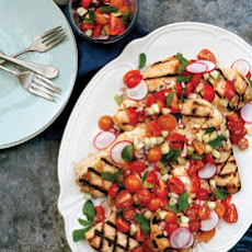 Grilled Chicken with Cucumber, Radish, and Cherry Tomato Relish