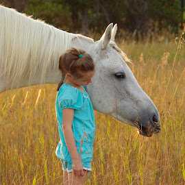by Giselle Pierce - Babies & Children Children Candids ( field, child, pony tail, little girl, girl, grass, horse, lips, kid )