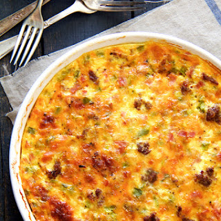 Crustless Quiche with Sausage, Bacon and Ham
