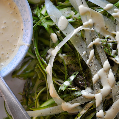 Shaved Asparagus with Salty Garlic Aioli