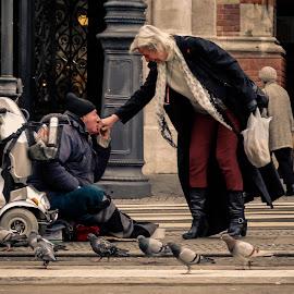 Heartfelt Gratitude  by Mihai Nicolae - City,  Street & Park  Street Scenes ( pigeons, streetphotography, street life, homeless, street scenes,  )