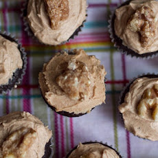 Mini Cinnamon Chocolate Cupcakes w/ Spiced Buttercream and Candied Maple Walnuts