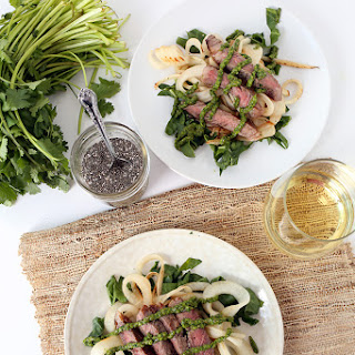 Chia-Chimichurri Steak with Turnip-Chard Pasta