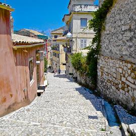 Corfu Street by Steven Aicinena - City,  Street & Park  Street Scenes ( corfu )