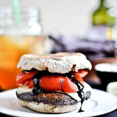 Asiago Portobello Burgers with Roasted Red Peppers + Balsamic Glaze