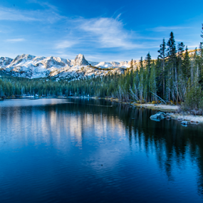 Mammoth lakes sunrise reflection by Kathy Dee - Landscapes Mountains & Hills ( reflection, beautiful, lakes, mammoth, lake, morning, landscape, redwoods, sky, dawn, blue, sunrise, early,  )