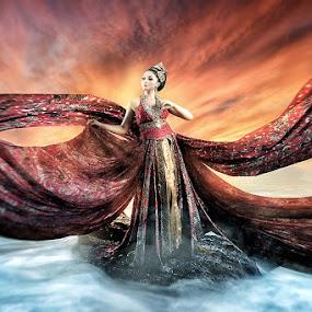 Dressed for Success by Bang Munce - Digital Art People ( red, compostie, batik, dress, wave, sea, ocean, long, people, women )