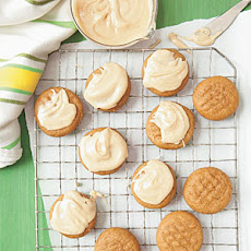 Molasses Cookies with Peanut-Butter Glaze