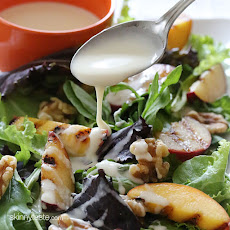 Grilled Stone Fruit Salad with Honey Goat Cheese Dressing