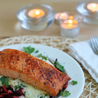 "Beet ""Pasta"" with Lemon-Creme Sauce and Salmon"