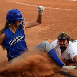 Safe or out? by Courtney Collins - Sports & Fitness Other Sports ( school, softball, athlete, athletic )