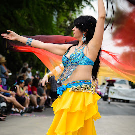 Lovely Dancer by Judy Rosanno - People Musicians & Entertainers ( woman, belly dancer, street performer, dancer,  )