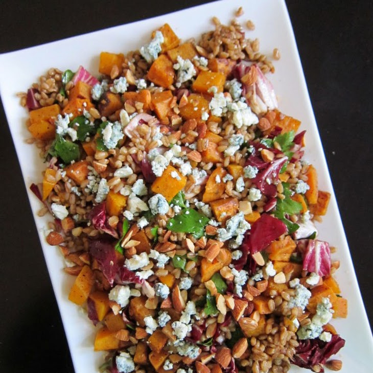 Roasted Butternut Squash and Farro with Almonds and Blue Cheese Recipe ...