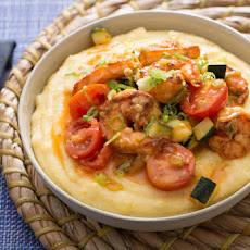 Southern-Style Shrimp and Grits with Zucchini, Corn & Cherry Tomatoes