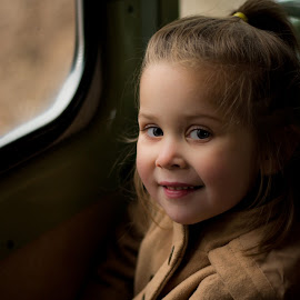 All Aboard! by Brandi Davis - Babies & Children Child Portraits ( natural light, girl, train, smile, portrait )