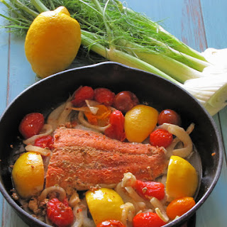 Skillet Roasted Salmon, Fennel and Tomatoes