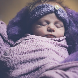 pretty in purple by Katherine Terrel - Babies & Children Babies ( newborn photography, purple, baby girl, baby, newborn )