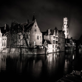 Bruges anno 1715 by Kurt De Somviele - City,  Street & Park  Historic Districts ( night view, night photography, night lights, night scene, night, cityscape, night shot, nightscapes, city, nightscape )