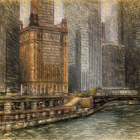 Chicago River Skyline by Dennis Granzow - Digital Art Places ( chicago river, digital art, digital drawing, chicago, travel )