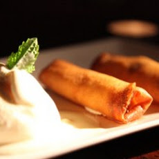 Chocolate and Banana Spring Roll served with Coconut Ice-Cream and a Cinnamon Drizzle