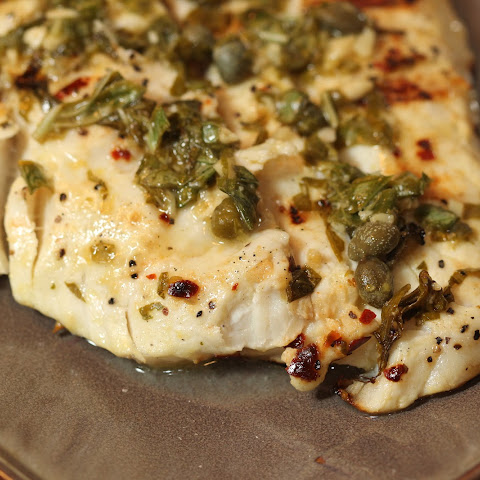 Grilled Halibut with Lemon, Capers and Basil