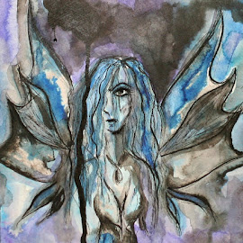 Shame Fae by Vanessa Renee - Drawing All Drawing ( shame, fae, fairy, drawing, inkwash, ink )