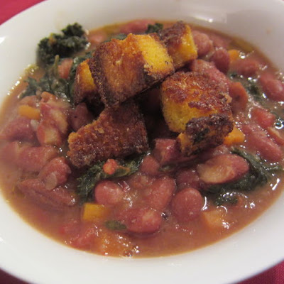 Red Bean and Kale Soup with Cornbread Croutons