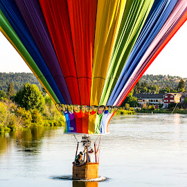 Morning Dip by Kristian Sørensen - Landscapes Travel ( #bend #oregon #pnw #river #hotairballoon )