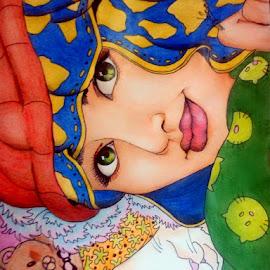 sweet girl by Lina Diana - Drawing All Drawing ( girl, woman, beautiful, self portrait, beauty )