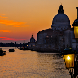 Dawn on the Grand Canal by Gary Beresford - City,  Street & Park  Street Scenes ( church, grand canal, venice, dome, sunrise, canal, italy, santa maria del salute )