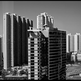 Tin Shui Wai from Harbour Plaza Hotel by Daniel Legendarymagic - Buildings & Architecture Other Exteriors ( dcp, hongkong, bw, buildings, glass, 天水圍站, tinshuiwai, digicore, legendarymagic )