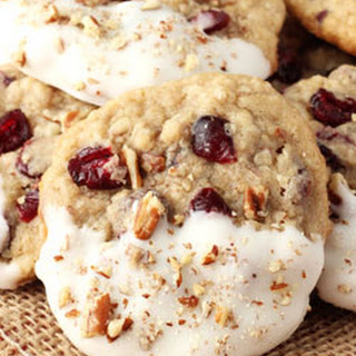 White Chocolate Dipped Cranberry Pecan Oatmeal Cookies