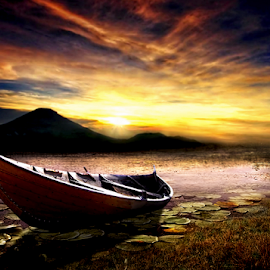 Boat by Juprinaldi Photoart  - Digital Art Places ( boat           sky     cloud            river            sunrise                sun                photomanipulation                   digital art )