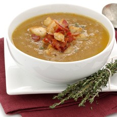 Chestnut Soup with Bacon and Thyme Croutons