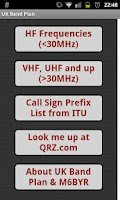 Screenshot of UK Band Plan - Amateur Radio