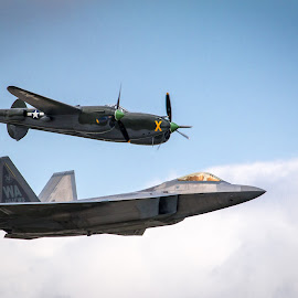 P38 & F22 by Darin Mellor - Transportation Airplanes ( offut air force bace, f22, bellevue, nebraska, blue angels, air show )
