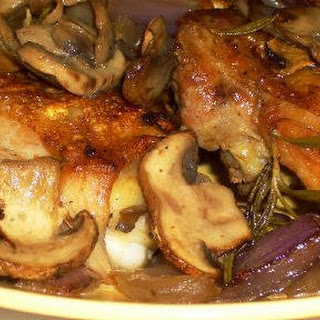 Pan Roasted Chicken with Mushrooms, Onions, and Rosemary