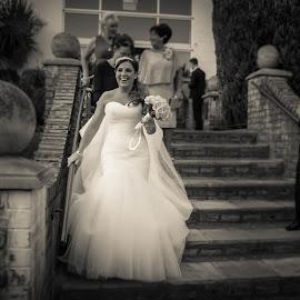 Rachel by Graeme Murray - Wedding Bride ( black and white, happy, dress, wedding, white, glow, marriage, bride )