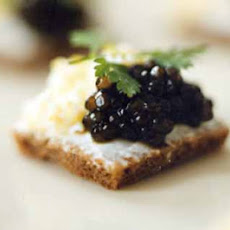Caviar on Pumpernickel with Sour Cream