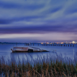 Sunk by James Gramm - Transportation Boats ( lights, clouds, water, grass, blue hour, long exposure, boat )