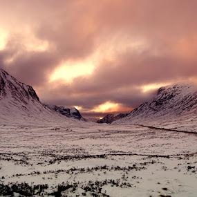 Road to Glencoe by Jackson Visser - Landscapes Mountains & Hills ( scotland, mountains, glencie, snow, glen etive, dramatic sky )