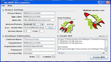 Screenshot of MyMobi Site Launcher