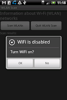 Screenshot of WLAN Scan