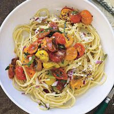 Cacio e Pepe with Warm Tomato Salad
