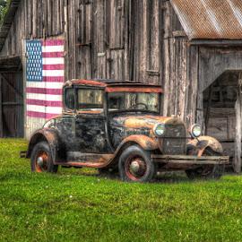 Americana by Bob Barrett - Transportation Automobiles ( model a, barn, hdr, ford, antique, classic )