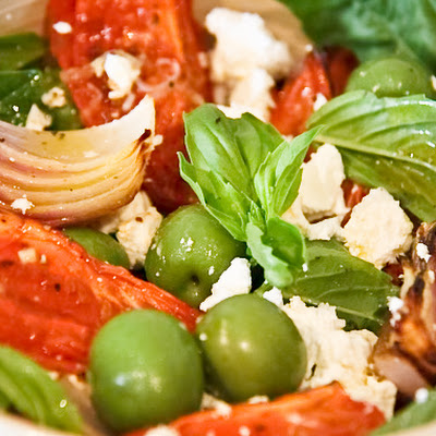 Roast Tomato, Onion, Feta, Olive And Basil Salad