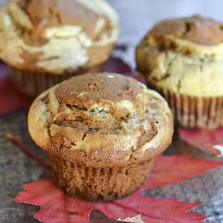 Pumpkin Muffins with Eggnog Cream Cheese Swirl