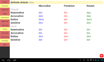 Screenshot of German Grammar