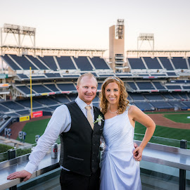 Ball Park Wedding by Robby Ticknor - Wedding Bride & Groom ( ball park, wedding )